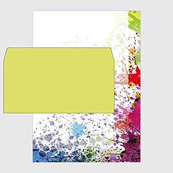Set: 25 x Papel Arco Iris - Splatter - Din A4 y sobres ...