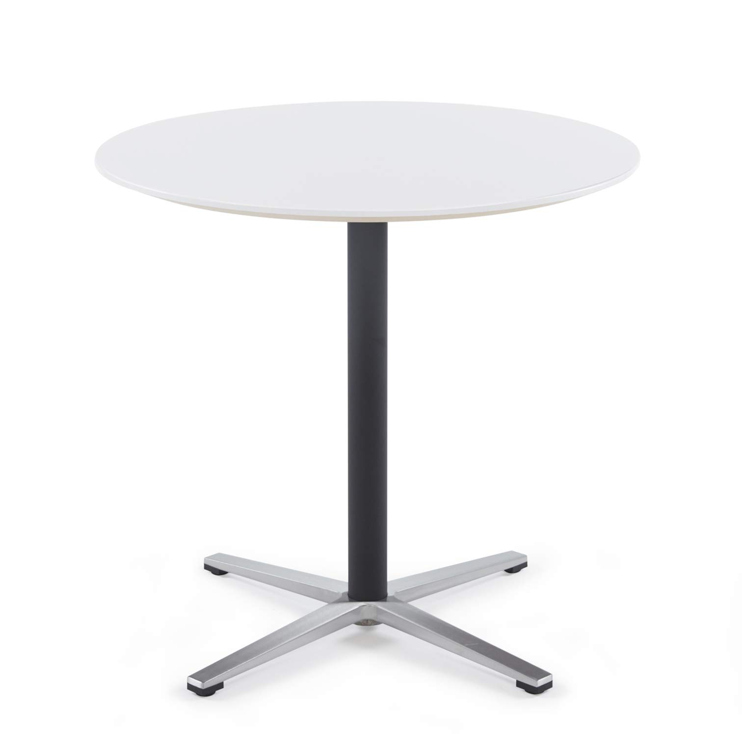 Sunon Round Bistro Table Small Round Table with X-Style Pedestal for Pub Table/Cafe Table/Office Table/Conference Table (Moon White,29.5-Inch Height)