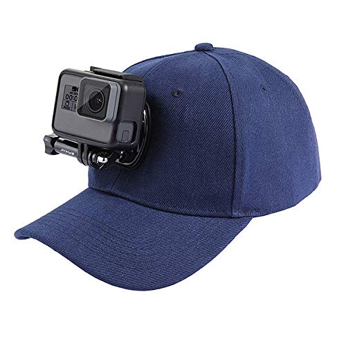 Price comparison product image POTENCO Sports Camera Hat Adjustable Cap with Screws and J Stent Base for GoPro Hero (Dark Blue)