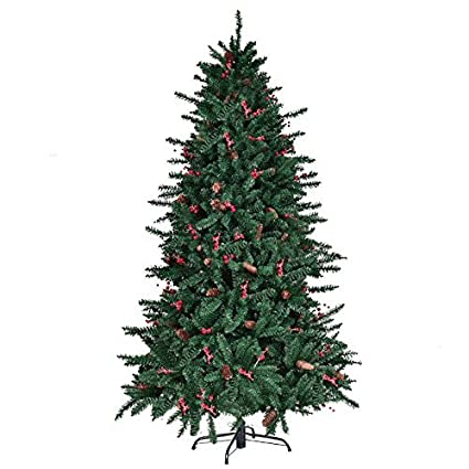 Amazon.com: 6FT Artificial Christmas Tree With Pine Cones Red ...