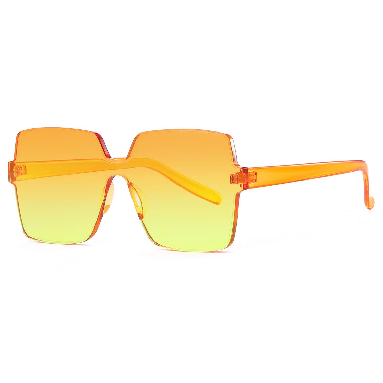 Oversized Square Candy Colors Transparent Lens Rimless Frame Unisex Sunglasses