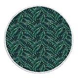 iPrint Thick Round Beach Towel Blanket,Palm Leaf,Watercolor Tropical Jungle Leaves Pattern Fresh Rainforest Hawaii Summer Decorative,Dark Green Black,Multi-Purpose Beach Throw