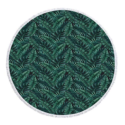 iPrint Thick Round Beach Towel Blanket,Palm Leaf,Watercolor Tropical Jungle Leaves Pattern Fresh Rainforest Hawaii Summer Decorative,Dark Green Black,Multi-Purpose Beach Throw by iPrint