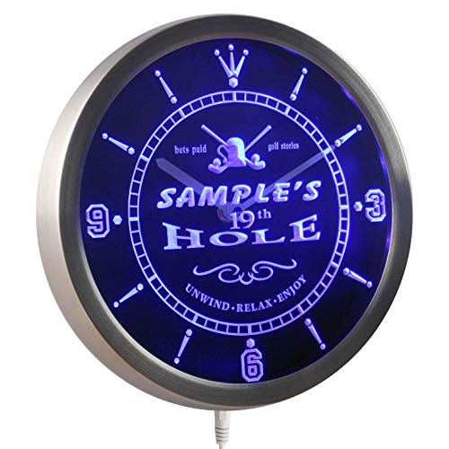 (ADVPRO ncpi-tm Golf 19th Hole Personalized Your Name Bar Beer Sign Neon LED Wall Clock)