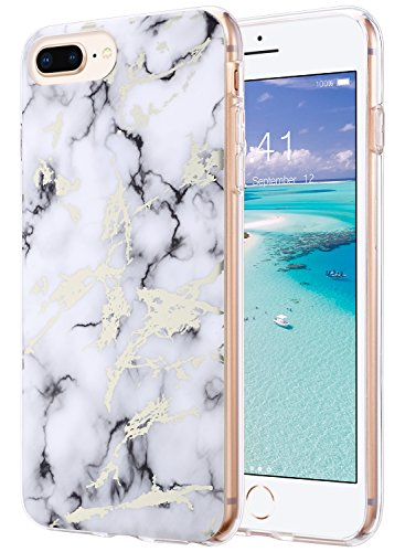 Rubber Hard Skin Case (iPhone 8 Plus Case, Marble iPhone 7 Plus Case, ULAK Shiny Glossy White Marble Design Clear Slim Lightweight Soft TPU Rubber Bumper Hard Back Cover for iPhone 7/8 Plus)