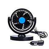 Anpress HX-T305 12V 360 Rotating Car Cooling Fan Protable Auto Air Oscillating Fan Mini Electric Fan Strong Wind Low Noise Car Fan Car Air Conditioner Cooling Fan (black+blue)