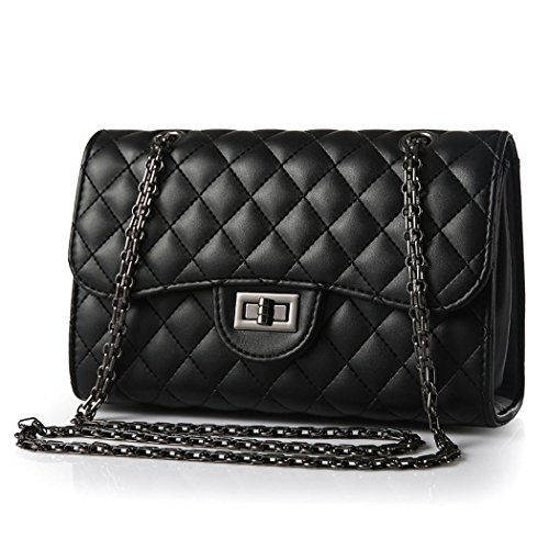 andee-womens-vintage-classical-metal-buckle-chain-soft-leather-shoulder-bagsblack