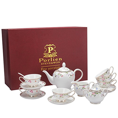 Teacup Pot - Porlien Tea Set, Colourful Floret, Porcelain Teapot & Teacup Gift Set Service for 6