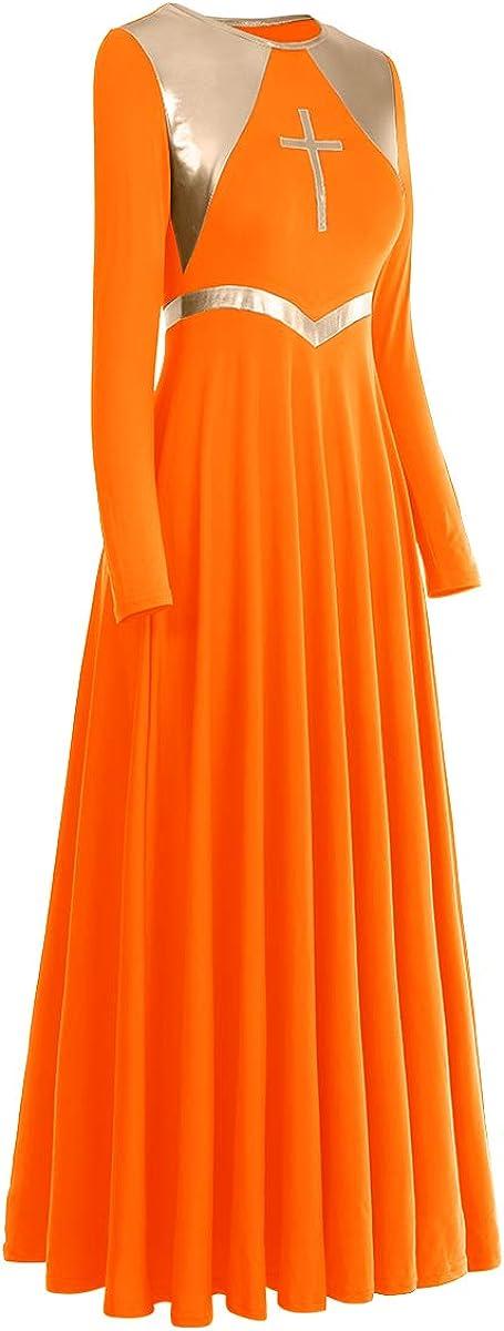 Women Metallic Cross Liturgical Praise Dance Dress Lyrical Dancewear Color Block Full Length Robe Worship Costume