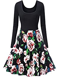 Long Sleeve Vintage Casual Pockets Floral Swing A-Line Cocktail Party Dress