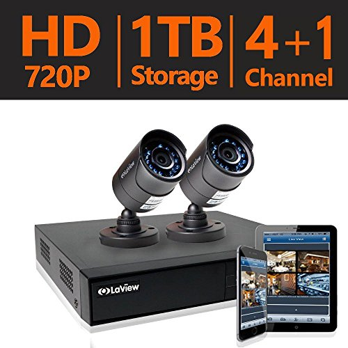LaView 2 HD 720P Security Camera System, 4 Channel HD-TVI Analog CCTV Video DVR System w/ 1TB HDD & 2 Bullet 720P Cameras -  LV-KHA1FOAFB5-1