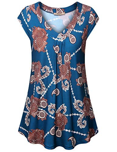 Timeson Ladies Sleeveless Tops, Women's Sleeveless Plus Size Maternity Top V Neck Knitted T Shirts Work Modern Paisley Blouses Dressy Swing Office Dressy Tees Fitting Pleated Tunic Multi-Cyan X-Large