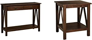 "Linon Home Dcor Console Table, 42.01"" w x 13.98"" d x 30.71"" h, Antique Tobacco & Linon Home Decor Titian End Table, 20"" w x 17.72"" d x 22.01"" h, Antique Tobacco"