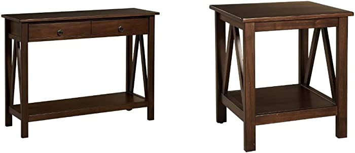 "Linon Home Dcor Console Table, 42.01"" w x 13.98"" d x 30.71"" h, Antique Tobacco & Linon Home Decor Titian End Table, 20"" w x 17.72"" d x 22.01"" h, Antique Tobacco"