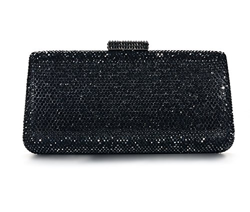 DMIX Womens Crystal Hard Case Box Clutch Evening Bags Black (Dmix Case)