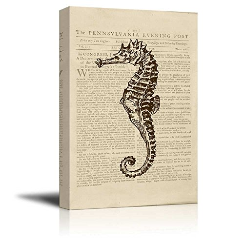 Wll Art Seahorse on Vintage Newspaper Background and Stretched