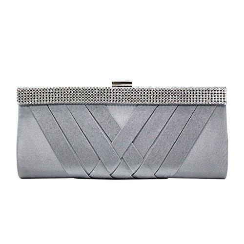 YYW Crystal Clutch Bag - Cartera de mano para mujer gris
