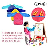 Easykan 3 Pack Kids Reusable Art Painting Apron Children Waterproof Smocks, Multicolored DIY Protective Overall Long Sleeve with 3 Roomy Pockets for Ages 2-6,Easy Clean Multi-purpose for Art,Cooking