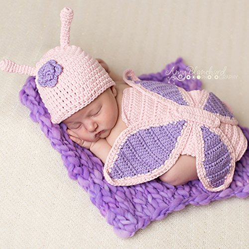 Melondipitys Baby Butterfly Hat and Matching Back SET Newborn Girls Butterfly Set