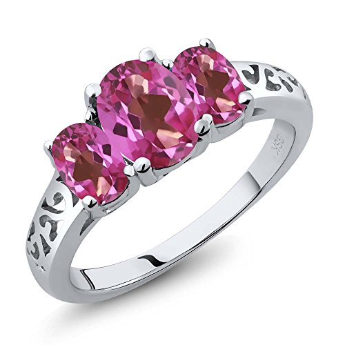 2.70 Ct Genuine Oval Pink Mystic Topaz Gemstone 925 Sterling Silver Women's Ring (Available in size 5, 6, 7, 8, 9) (Pink Gem Ring compare prices)