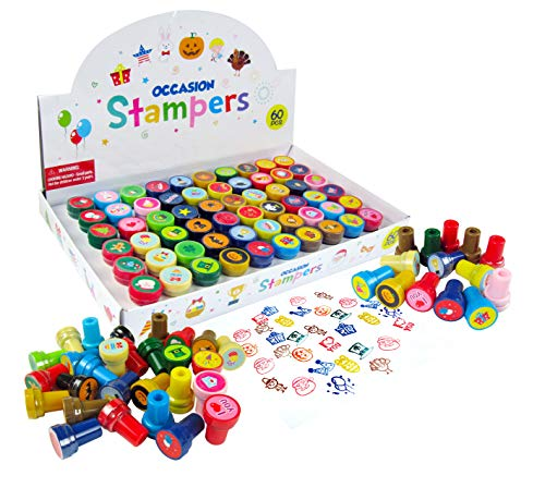 TINYMILLS 60 Pcs Holidays and Occasions Assorted Stampers for Kids -