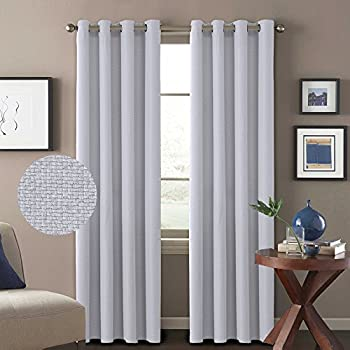darkening thermal insulated thick quality textured tiny plaid linen like innovated extra long curtains and drapes 52 by 108 inch silver white 2 panels