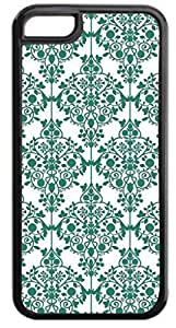 03-Floral Damask Pattern- Case for the APPLE IPHONE 5, 6 4.7-NOT THE 6 plus (5.5)!!!-Hard Black Plastic Outer Case with Tough Black Rubber Lining