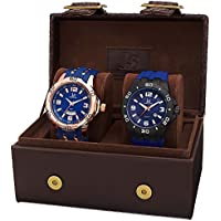 Joshua & Sons Men's JX113BU Rose and Black Quartz Watch Set Includes JX115BU & JX110BU Blue Silicone Strap