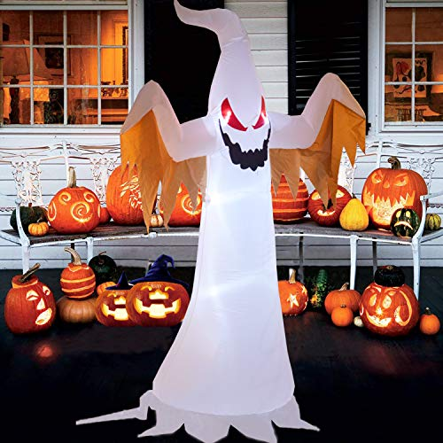 - Zayzelle 8 Foot Halloween Inflatable Air Blown White Ghost Red Eye Lighted Home Yard Garden Indoor Outdoor Decoration