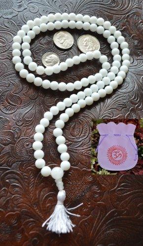 (WHITE JADE JAPA MALA 8 MM 108+1 BEADS NECKLACE-BLESSED & ENERGIZED HINDU TIBETAN BUDDHIST PRAYER KARMA BEADS SUBHA ROSARY MALA FOR NIRVANA, BHAKTI, FOR REMOVING INNER DOSHAS, FOR CHANTING AUM OM, FOR AWAKENING CHAKRAS, KUNDALINI THROUGH YOGA MEDITATION-FREE OM MALA POUCH INCLUDED - USA SELLER)