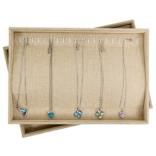 Valdler Sackcloth Stackable 20 Hooks Jewelry Tray Necklace Display Showcase Organizer