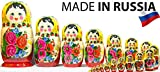 Russian Nesting Doll -Semenovo - Hand Painted in Russia - 6 Color|Size Variations - Wooden Decoration Gift Doll - Traditional Matryoshka Babushka (14``(20 Dolls in 1), Yellow - Red)