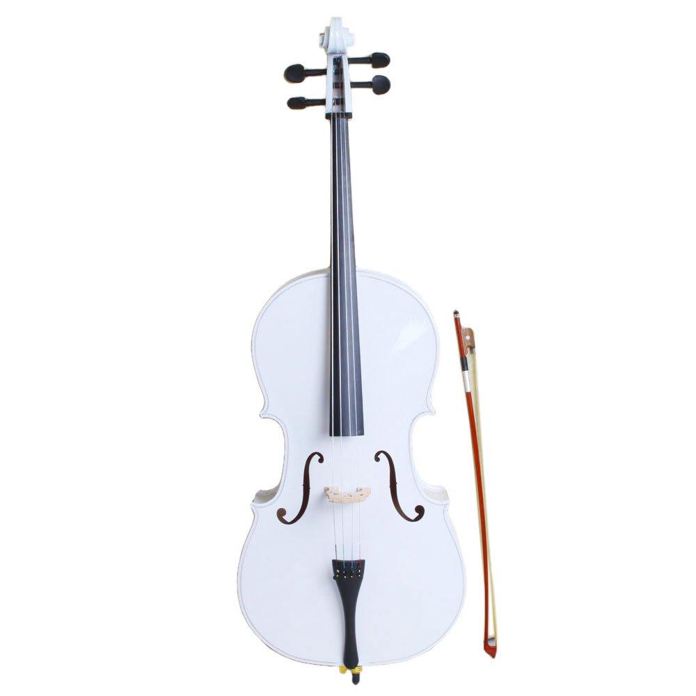 VIPITH 4/4 Wood Cello Bag Bow Rosin Bridge White(Bag, Bow, Accessories & Stand)
