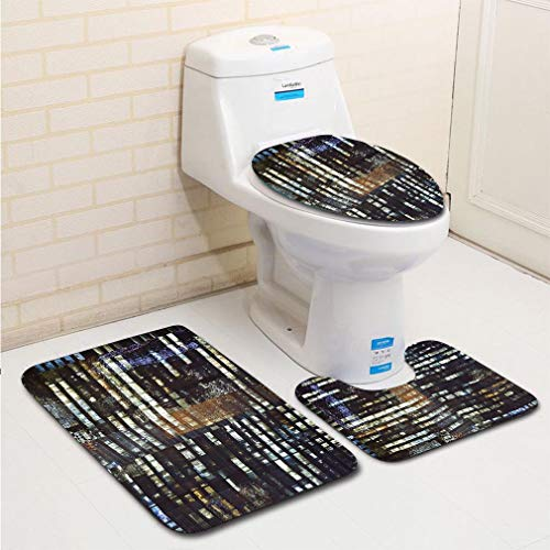 MTSJTliangwan Family Bathroom Set of 3, Bathroom Rug + Contour pad + lid Toilet seat, Illuminated Skyscrapers Singapore Comfortable Flannel Rug
