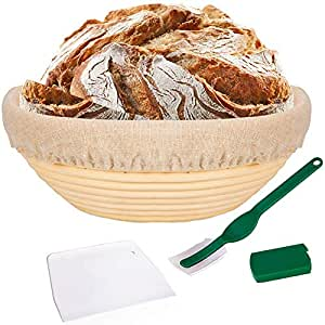 TOOGOO 10 Bread Proofing Basket - Banneton Proofing Basket + Cloth Liner + Dough Scraper + Bread Lame - Sourdough Basket Set for Professional and Home Bakers Artisan Bread Making