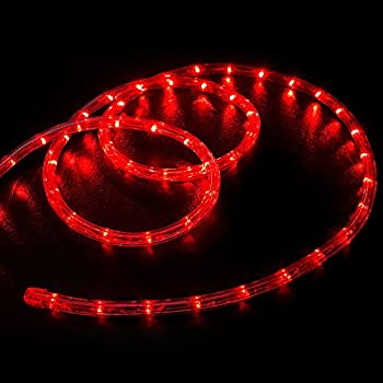 WYZworks 50' feet Red LED Rope Lights - Flexible 2 Wire Accent Holiday Christmas Party Decoration Lighting