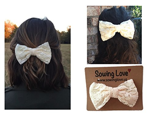 Sowing Love Large Lace Hair Bow - Ladies and Girls 5 Hair Bows - Various Colors (Off White)