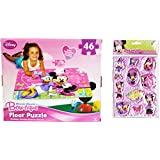 """Minnie Mouse 2 Item Bundle: 46 Piece Extra Large Disney Licensed Minnie Mouse Bow-tique Clubhouse Floor Puzzle Activity 24"""" X 36"""" and Disney Puffy Minnie Mouse Stickers"""