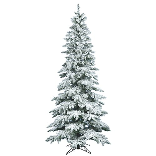 Vickerman 1743 Flocked Utica Slim Unlit Christmas Tree, 10 X 55-Inches (Flocked Utica Tree)