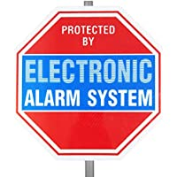 Reflective Alarm System Security Warning Yard Sign with Stake