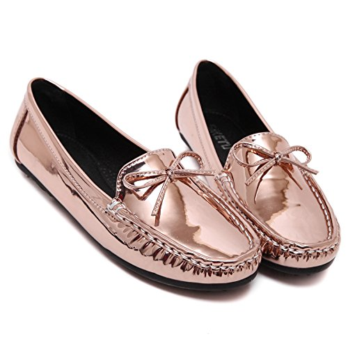 D2C Beauty Womens Casual PU Leather Driving Flat Loafers Shoes Champagne QCXfO