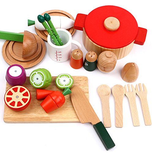 Wooden Cutting & Cooking Pretend Play Set, Stir, Serve Utensils, Pots and Pans, Learning Educational Kitchen Toy For 2, 3, 4, 5, 6 Year Old and Up Kids Boys, Girls and Toddlers - iPlay, iLearn