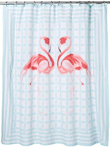 Tropical Pink Flamingo Novelty Fabric Shower Curtain Cotton Bland Stripes Fabric Shower Curtain