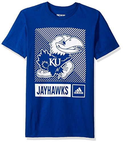 adidas NCAA Kansas Jayhawks Mens Lined Box Go-to S/Teelined Box Go-to S/Tee, Collegiate Royal, Medium