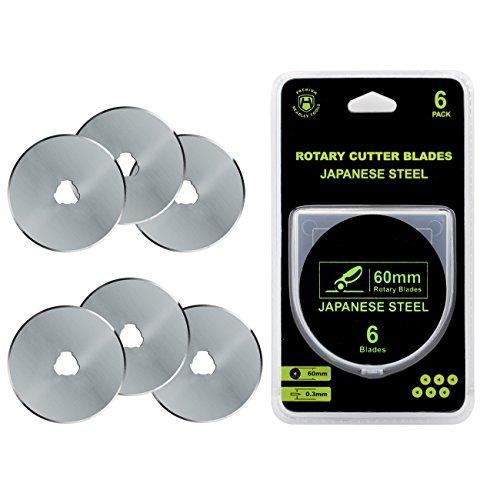 Headley Tools 60mm Rotary Cutter Blade(pack of 6) Fits Olfa Fiskars Turecut (60MM, Quantity 6pc) by Headley Tools