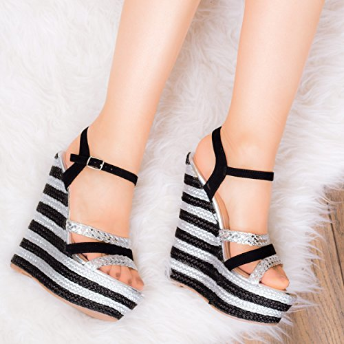 Shoes Heel Leather Wedge TRULY Strappy SPYLOVEBUY Silver WILD Pumps Platform Style Sandal Women's Snq64CwzR