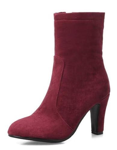 SHOWHOW Damen Nieten Spitze Kurzschaft Stiefel Mit Keilabsatz Rot 36 EU YVOFa