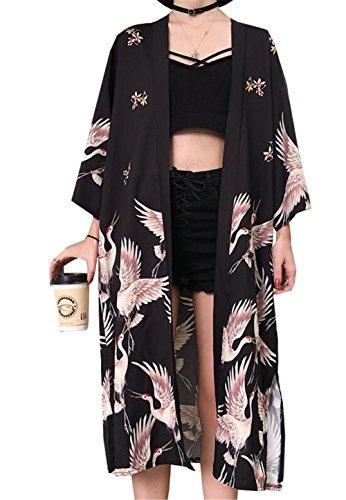 (ジュンィ) ロング カーディガン レディース 薄手 羽織り 日焼け止め服 ゆったり 和風 パーカー ビーチコート 花柄