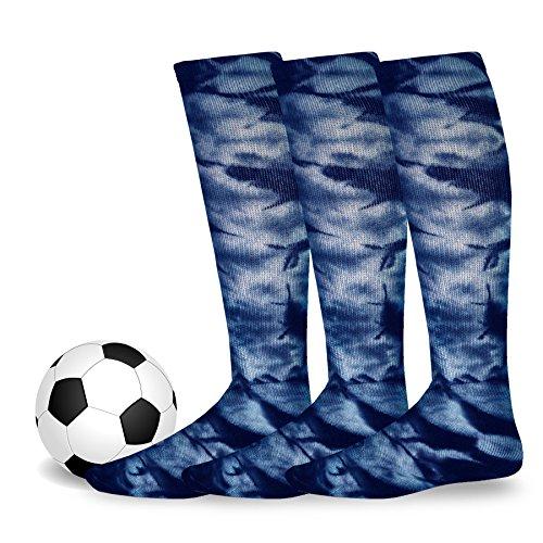 - Soxnet Cotton Unisex Soccer Sports Team Socks 3 Pack (Medium (9-11), Tie Dye Navy)