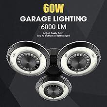 LED Garage Lights, UFO 60w Deformable LED Garage Ceiling Lights 6000 Lumens CRI 80 Led Shop Lights for Garage, Garage Lights with 3 Adjustable Panels, Utility Led Garage Lighting
